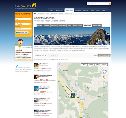 Find Chalets Screenshot - Web designer - Southampton
